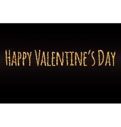 Happy Valentines Day gold glitter card template vector image vector image
