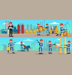 petrochemical industry characters horizontal vector image vector image