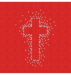 Style Seamless Red White Color Knitted Pattern vector image vector image
