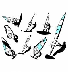 windsurfing set vector image vector image