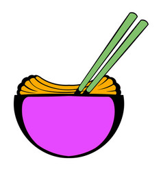bowl of rice with chopsticks icon cartoon vector image vector image