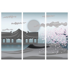 Chinese colorful landscape vector