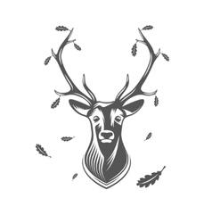 deer head with oak leaves vector image
