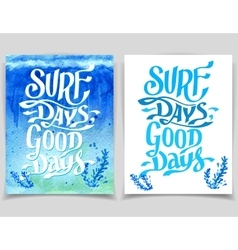 Surf days watercolor greeting cards vector image vector image