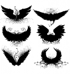 grunge wing silhouette vector image