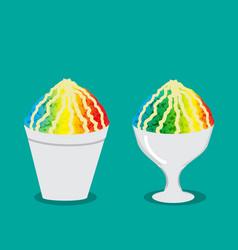 Hawaiian shave ice with rainbow color vector