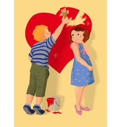Heart shape boy and girl in love vector image