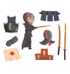 japanese kendo sword martial arts fighter armor vector image