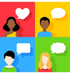 People icons with dialog speech bubbles Set vector image vector image