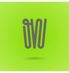 W type line design W letter vector image vector image