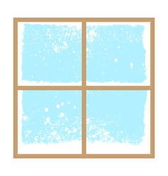 winter snowy window vector image vector image