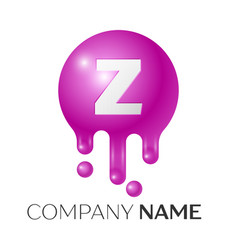 z letter splash logo purple dots and bubbles vector image