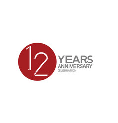 12 years anniversary logotype design with big red vector