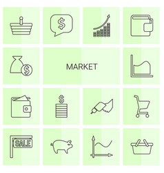 14 market icons vector