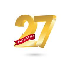 27 year anniversary template design vector