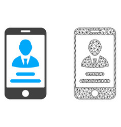2d mesh mobile user info and flat icon vector