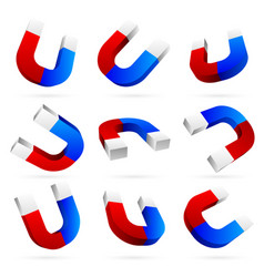 3d bright magnets in different angles vector image