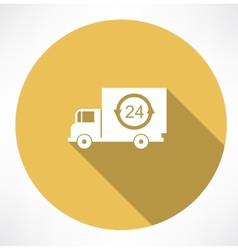 a truck delivery 24h icon vector image
