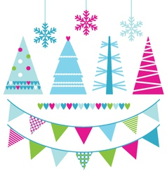 Abstract xmas trees and design elements vector image vector image