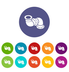 adapter pipe icons set color vector image
