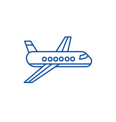 airplaneplane line icon concept airplaneplane vector image