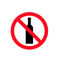 Alcohol not permitted allowed sign bottle glass vector