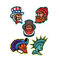 American and british mascots collection vector