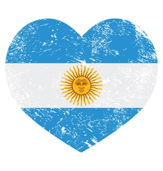 Argentina retro heart shaped flag vector image