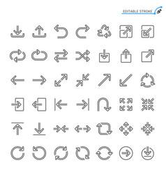 Arrow line icons editable stroke vector