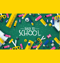 back to school papercut kid supplies chalk board vector image