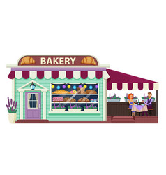 Bakery building cartoon flat vector