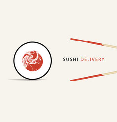 banner on theme sushi delivery vector image