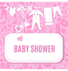 Bashower card in pink color vector