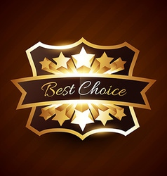 best choice label design with golden stars vector image