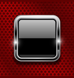 Black button on red metal perforated background vector