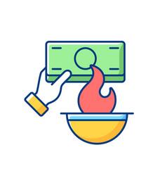 Burning money rgb color icon vector