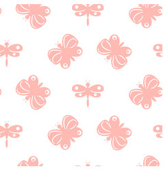 Butterfly pink pastel baby seamless pattern vector