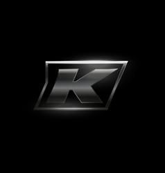 Carbon speed letter k logo dark matte metal vector