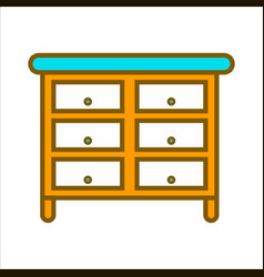 Cartoon commode with lot of drawers isolated vector