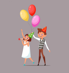 Children in birthday hats vector