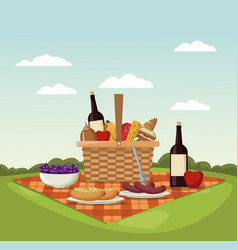 color scene landscape of picnic basket and vector image
