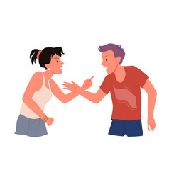 Couple people yell angry husband wife point fight vector