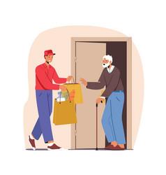Courier character caregiving elderly people vector