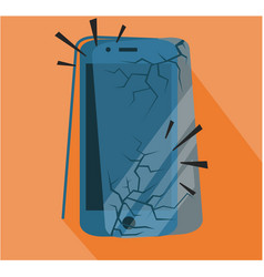 crashed smart phone broken vector image