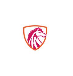 creative red horse shield logo design symbol vector image