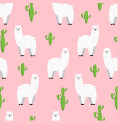 cute lama doodle collection vector image