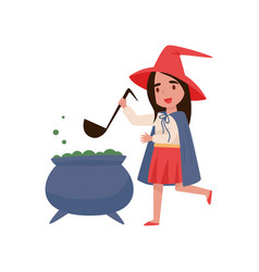 cute little girl dressed as a witch preparing vector image