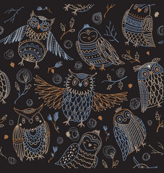 cute owls seamless pattern in boho style vector image