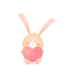 cute sitting rabbit with pink heart in hands vector image