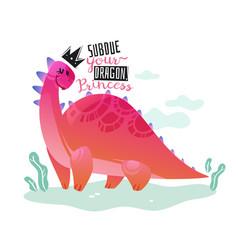 dinosaur princess poster cute dino girl print t vector image